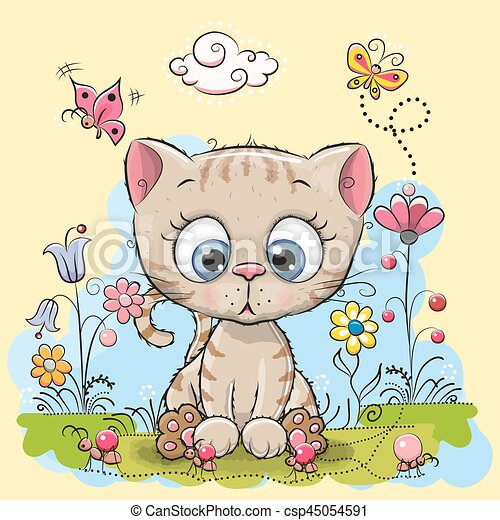 Image of: Cat Cute Cartoon Kitten Csp45054591 Can Stock Photo Cute Cartoon Kitten With Flowers And Butterflies On Meadow