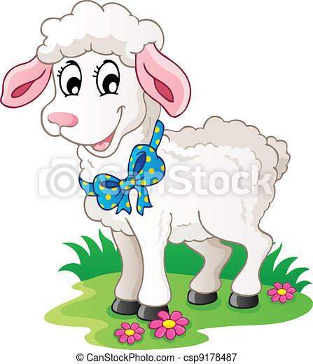 cute cartoon lamb vector illustration rh canstockphoto com Cartoon Sheep Cartoon Sheep