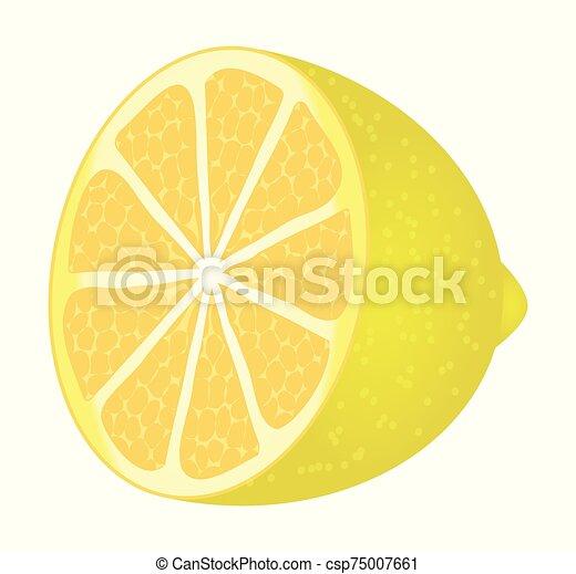 Cute cartoon lemon isolated on a white background. Vector illustration. - csp75007661