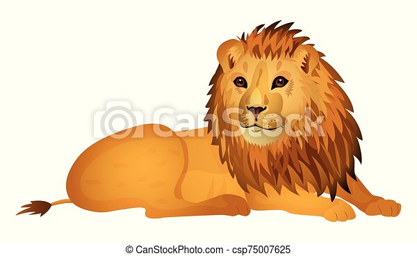 Cute cartoon lion isolated on a white background. Vector illustration. - csp75007625