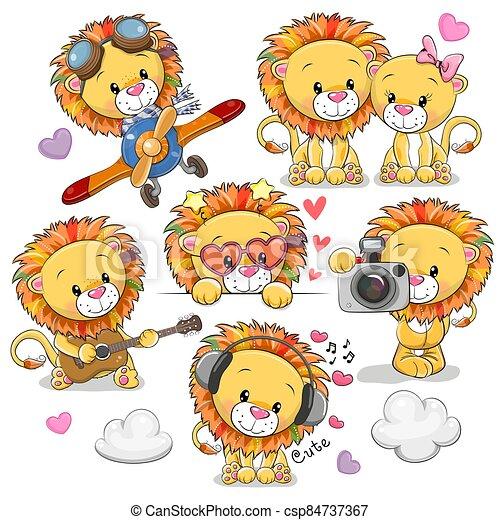 Cute Cartoon Lions on a white background - csp84737367