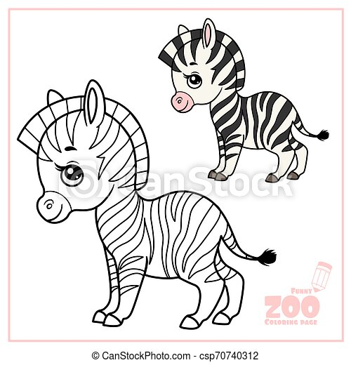 Cute Cartoon Little Zebra Color And Outlined On A White Background For Coloring Page Canstock