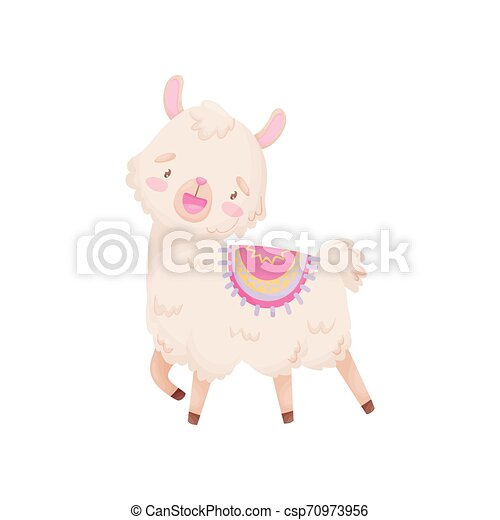 Cute cartoon llama with a cape on his back. Vector illustration on white background. - csp70973956