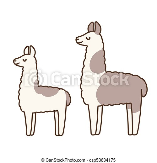cute cartoon llamas. cute and simple llamas drawing, adult