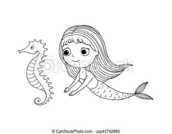 Cute cartoon mermaid and sea horse. Siren. Sea theme. Hand drawing isolated objects on white background. Vector illustration. - csp43742685