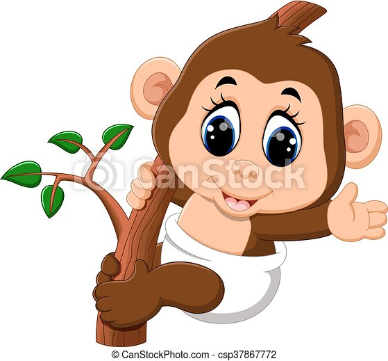 cute Cartoon monkey - csp37867772