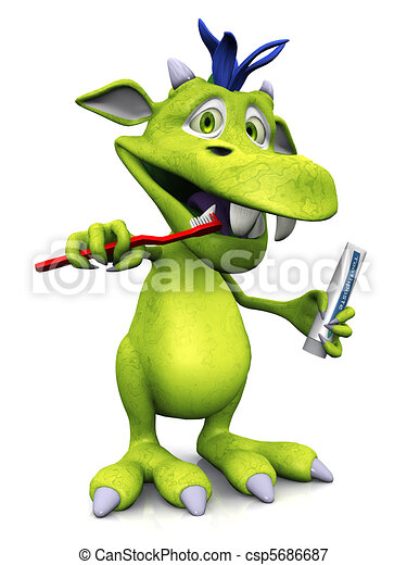 Cute cartoon monster brushing his teeth. - csp5686687