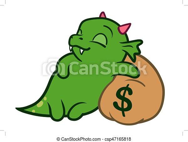 cute cartoon monster dragon sleeping on bag of money vector hand