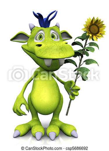 Cute cartoon monster holding a sunflower. - csp5686692