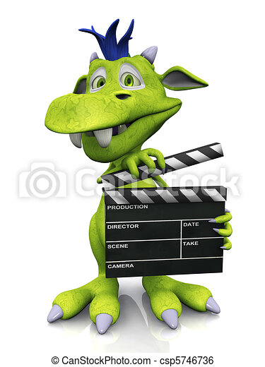 Cute cartoon monster holding a film clapboard. - csp5746736