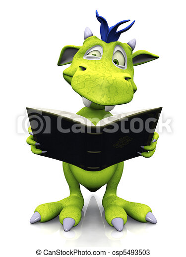 Cute cartoon monster looking confused when reading. - csp5493503