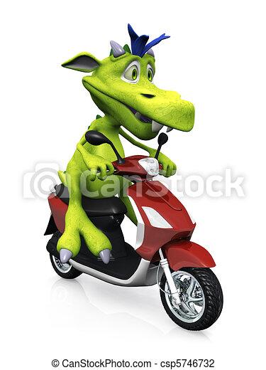 Cute cartoon monster on a scooter. - csp5746732