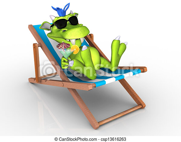 Cute cartoon monster relaxing in a beach chair. - csp13616263