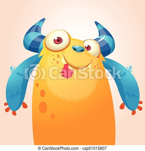 Cute cartoon monster. Vector troll or gremlin character. Halloween design - csp51015607