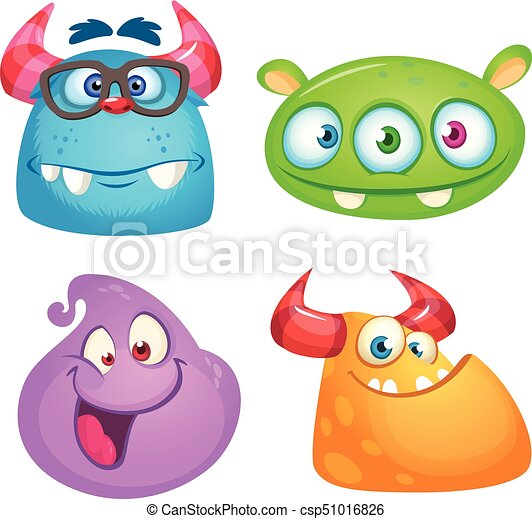 cute cartoon monsters collection vector set of 4 halloween monster icons
