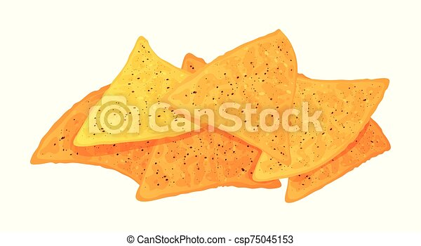 Cute cartoon nachos isolated on a white background. Vector illustration. - csp75045153