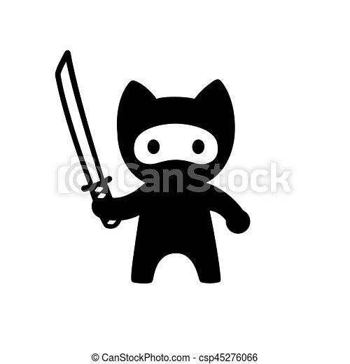 Cute Cartoon Ninja Cat With Katana Sword Adorable Vector Black And White Cat Illustration In Simple Minimal Japanese Style