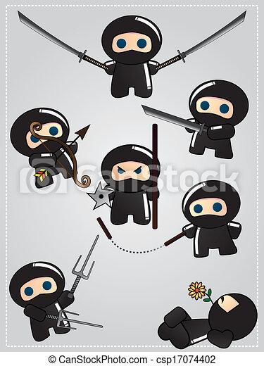collection of cute cartoon ninja warriors with various vector