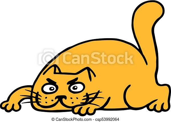 cute cartoon orange cat preys vector illustration isolated clip rh canstockphoto com
