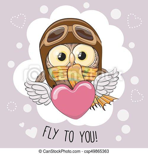 Cute cartoon owl in a pilot hat is flying on the heart.
