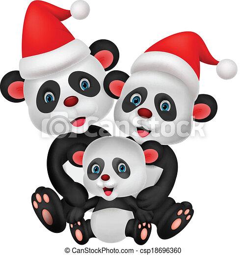 Cute cartoon panda bear family - csp18696360