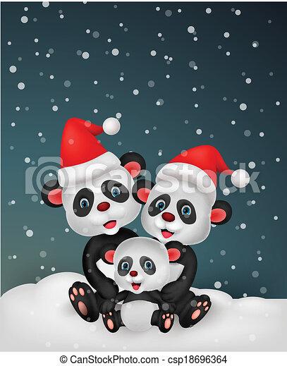 Cute cartoon panda bear family - csp18696364