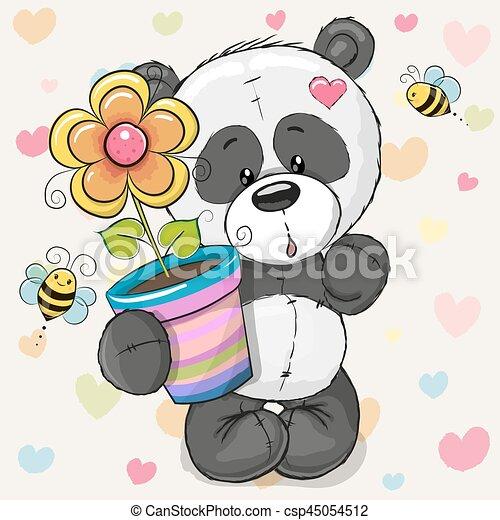 Cute cartoon Panda with flower - csp45054512