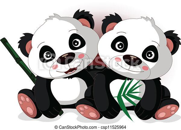 cute cartoon panda's brother - csp11525964