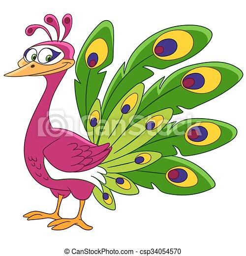 cute cartoon peacock - csp34054570