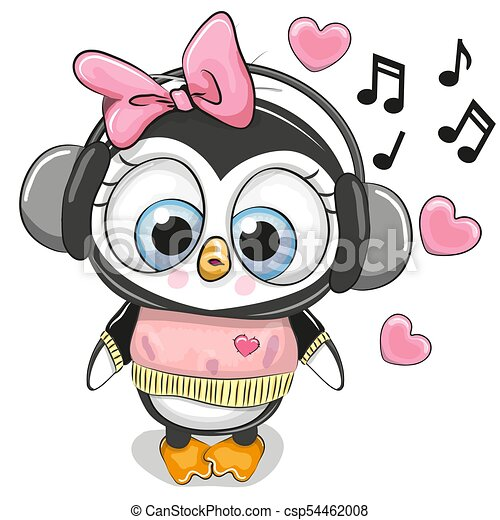 cute cartoon penguin girl with headphones and hearts