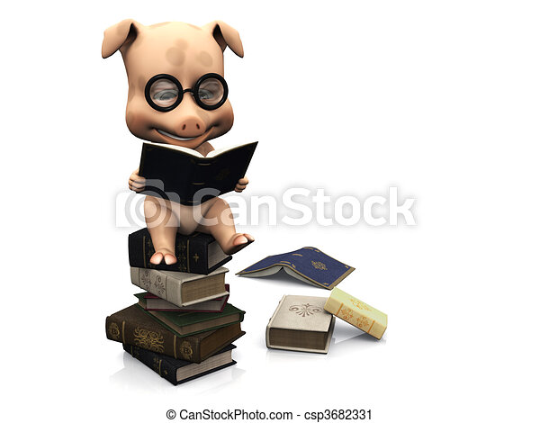 Cute cartoon pig sitting on a pile of books. - csp3682331