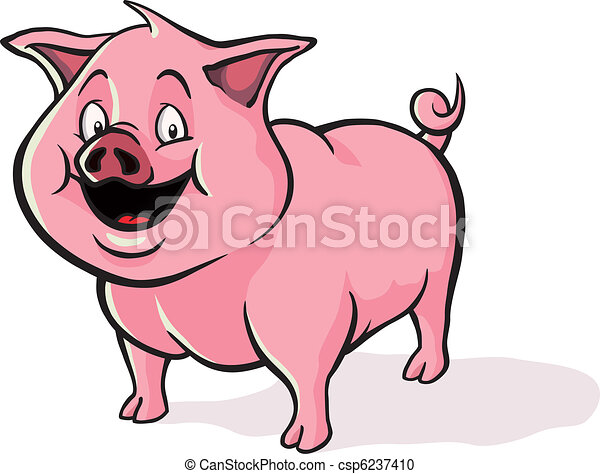 Cute cartoon pig - csp6237410