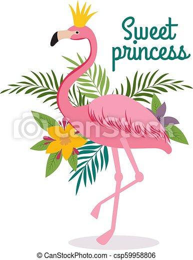 4a36b5dde Cute Cartoon Pink Flamingo Queen With Crown. Sweet Dreams Girly Vector  Greeting Card, Fashion Little