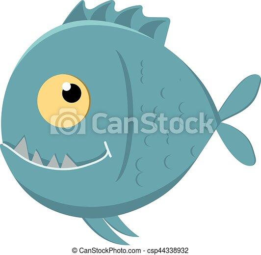 Cute cartoon piranha with sharp teeth - csp44338932