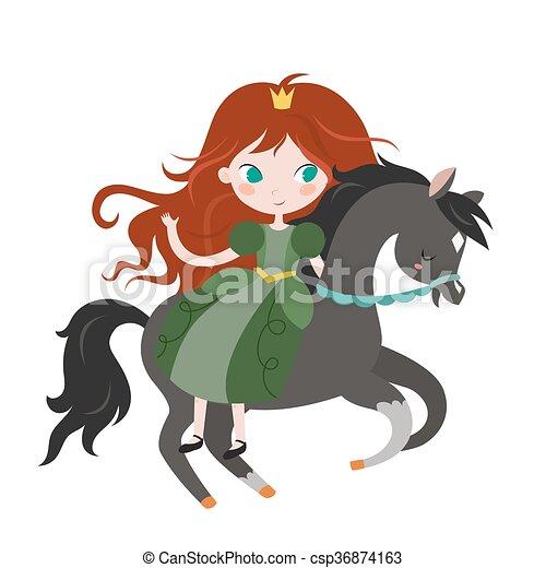 Cute cartoon princess on black horse. - csp36874163