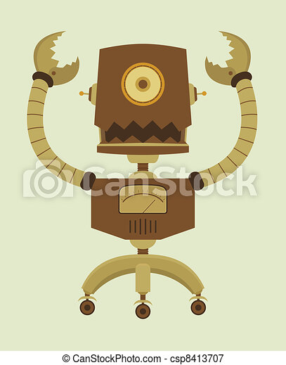 Cute Cartoon Retro Robot - csp8413707