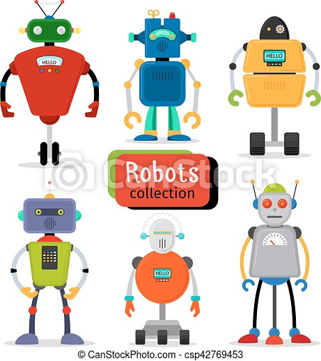 Cute cartoon robots set - csp42769453