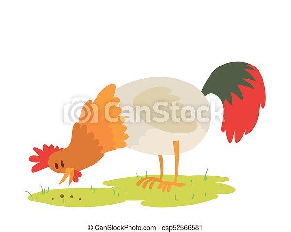 Line Art Rooster : Cute cartoon rooster vector illustration chicken farm animal