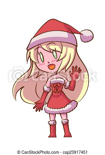 cute cartoon santa girl blonde hair