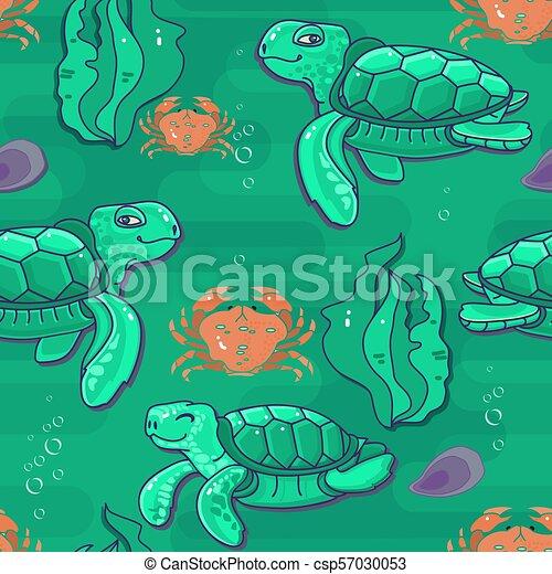 Cute Cartoon Sea Turtle Vector Seamless Pattern Cute Cartoon Sea