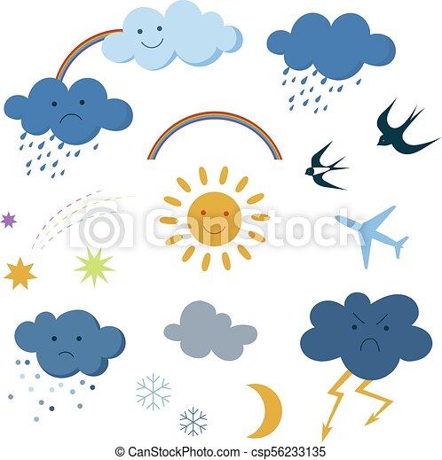 Cute cartoon sky objects weather symbols set clipart - csp56233135