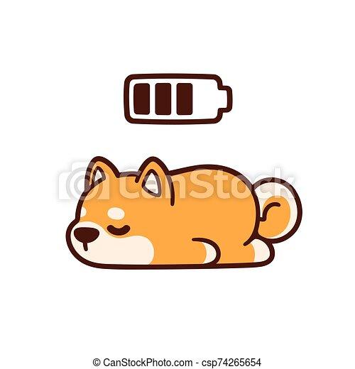 Cute Cartoon Sleeping Dog Cute Cartoon Shiba Inu Puppy Taking Power Nap With Charging Battery Adorable Sleeping Dog Drawing