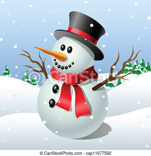 cute cartoon snowman in front of a winter landscape