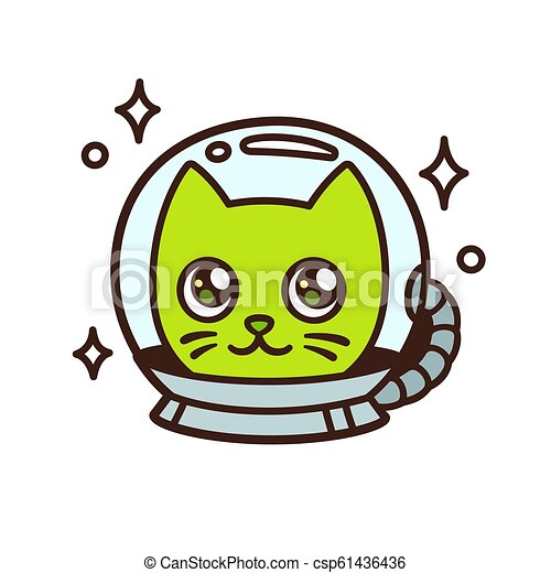 Cute cartoon space cat - csp61436436
