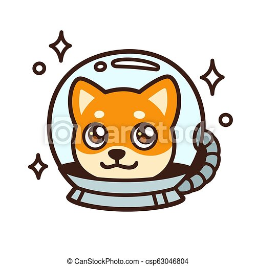 Cute Cartoon Space Dog Character Drawing Kawaii Anime Style Shiba Inu Puppy In Astronaut Helmet Isolated Vector