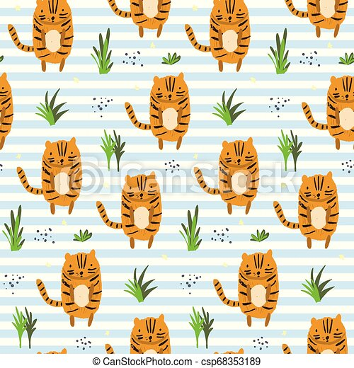 Cute cartoon striped pattern with tigers - csp68353189
