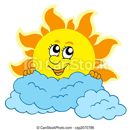 Cute cartoon Sun with clouds - csp2070786