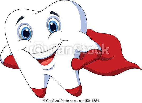 Cute cartoon superhero tooth posing - csp15011854