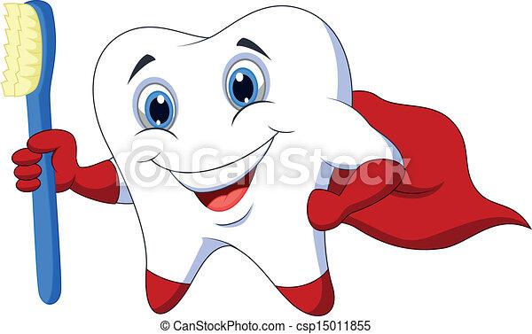 Cute cartoon superhero tooth with t - csp15011855