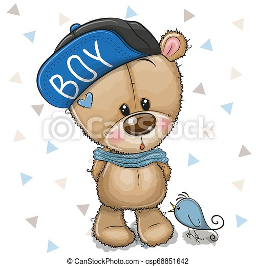 Cute Cartoon Teddy Bear in cap on a white background - csp68851642
